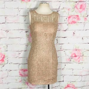 Adrianna papell sleeveless nude gold sequin dress